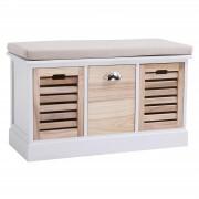 CARO-Möbel Sitzbank TRIENT in weiß/natur mit Sitzkissen, 3 Schubkästen