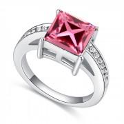 Inel argint cu elemente swarovski pink cristal
