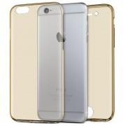 Husa Full TPU 360 (fata spate) pentru Apple iPhone 6 Plus 6S Plus Auriu Transparent