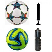 Kit of Multistar UEFA Champions League Football + Green Brazuca Football (Size-5) - Pack of 2 Balls with Air Pump & Sipper