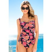 Womens Quayside Ruched Swimsuit - Black/White Print