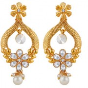 Spargz Gold Plated Party Wear Pearl AD Stone Dangle & Drop Earring Set For Women & Girls AIER 1370