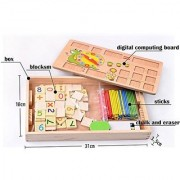2 in 1 Multi Functional Educational Wooden Digital Computing Learning Blocks Box Set for Kid's (Multicolor)