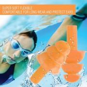EH Un Par Silicona Ear Plugs Anti Ruido Snore Earplugs Reducción De Ruido Para El Estudio - Naranja