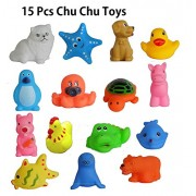 KP SALES chu chu Todler baby kids bath toys non-toxic animal shapes sound like chu chu toys set of 15 piece, Assorted Color & Shapes, Learning & Educating about Animals & sound