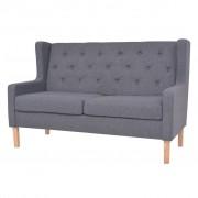 vidaXL 2-местен диван от плат, сив