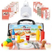 Pretend Play Food Toys Set - Mega Pack With 141 Pieces - Spend Quality Time With This Educational 4 in 1 Package - Includes Dining Foods, Kitchen Utensils, Chef Apron & Hat, Printables & Storage Bag