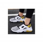 Fiesta casual transpirable calzado deportivo para hombre blanco y amarillo