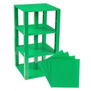 """Premium Green Stackable Base Plates 4 Pack 6"""" X 6"""" Baseplate Bundle With 30 Green Bonus Building Bricks (Lego Compatible) Tower Construction"""