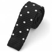 Tailor Toki Cravate tricotée noire à pois blancs