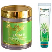 Pink Root Tea Tree Skin Clearing Clay Mask (100gm) with Himalaya Purifying Neem Face Wash (100ml) Pack of 2