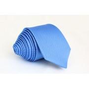 Pánská světle modrá slim kravata s pruhy - 6 cm