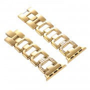D-shape Rhinestone Decor Stainless Steel Watch Strap Replacement for Apple Watch Series 4 40mm/3/2/1 38mm - Gold
