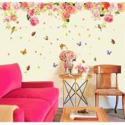 Walltola Multicolor Vinyl Rose Romantic Valentines Design Vintage Peony Floral Wall Sticker (No of Pieces 1)