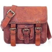 "Mangal Murti handicrafts100% Pure Leather 13"" Unisex Office Formal Travel Brown laptop Messenger Shoulder Bag."