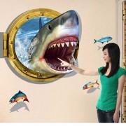 Removible DIY 3D tiburon personalizado pegatina de pared decorativo - azul