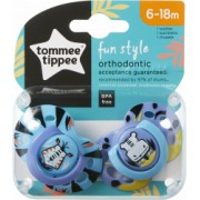 Set Suzete Ortodontice de Zi FUN Tommee Tippee 6-18 Luni 2 buc Tigru / Hipopotam