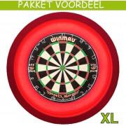 Dartbord Verlichting Voordeelpakket Super Deluxe + Pro SFB + Dartbordverlichting Deluxe XL(Rood)