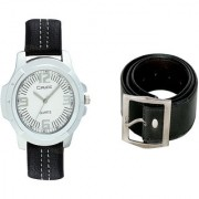 Crude Smart Combo of Analog Watch-rg180 With Leather Belt for Men's Boys