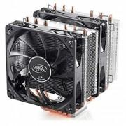 "Cooler DeepCool CPU universal, soc. LGA20xx/1366/115x/775 & FMx/AMx, Al+Cu, 6x heatpipe, 2x blue LED fans 120x25mm, 200W ""NEPTWIN V2"""