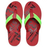 Reebok Men Fluorescent Green & Red Printed Gradient Flip Ii Lp Flip-Flops
