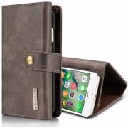 Dg.ming Para IPhone 8 Plus Y 7 Plus Triple Fold Caballo Loco Textura Flip Magnética Horizontal Funda Protectora Con Soporte Y Ranuras Para Tarjetas Y Cartera (gris)