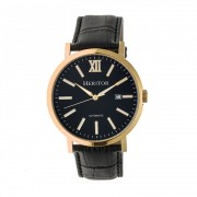 Heritor Automatic Bristol Leather-Band Watch w/Date - Gold/Black HERHR5308