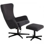 Комплект кресло с табуретка LEXI, асфалтово сив, 3550908