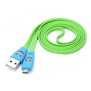 Micro LED Lighting Smile Face Design USB 2.0 Charging Cable - Fluorescent Green