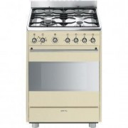 Smeg Concert 60cm Cooker, Stainless Steel - SSA60MX9 - Vinatge Cream