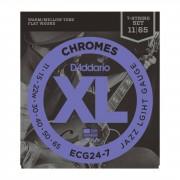 D'Addario ECG24-7 11-65 Chromes 7 cuerdas Flatwound acero inoxidable