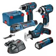 Bosch accu Toolkit 12 V bestaande uit accuschroefboormachine GSR 12V15 accuslagmoeraanzetter GDR 12V105 accumultitool GOP 12V28 accureciprozaag GSA 12V14 accuzaklamp GLI 12V80 3x accu 12V accucapaciteit 20 Ah snellader LBoxx 0615990K11