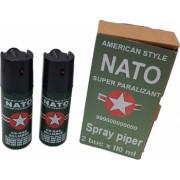 Set 2 bucati spray paralizant iritant lacrimogen autoaparare cu piper NATO 110 ml