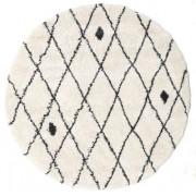 RugVista Tapis Shaggy Zanjan - Off-Blanc / Foncé Gris Ø 200 Tapis Moderne, Rond