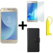 Samsung Galaxy J5 2017 - 16 GB - Goud + Portemonnee hoesje Zwart + tempered glass + Nokia 2600 mAh Powerbank Geel