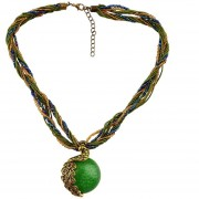 EY Female Women Vintage Retro Bohemia Short Pendant Opal Phoenix Peacock Necklace Green