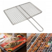 Meco Outdoor Picnic BBQ Fish Meat Grill Stainless Steel Net Mesh Wire Clamp