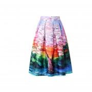 Impresión Digital Faldas Plisadas Imitación De Satén -04#