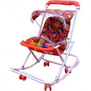 ABASR BABY KIDS MULTICOLOUR 2 IN 1 WALKER RED FANCY