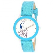 Lava Creation Stylish Sky Blue Peacock Design With Round Dial Girls Wrist Watch For Women (cut glass-sky blue mor dial)