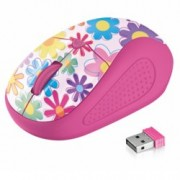 Мишка Trust Primo Wireless Mouse, оптична (1600dpi), безжична, USB, розова-текстура
