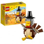 Lego Year 2014 Seasonal Series 4 Inch Tall Figure Set #40091 - Thanksgiving TURKEY with Adjustable Tail Feathers Wings Mouth and Feet Plus Pilgrim's Hat (Total Pieces: 125)