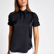 River Island Womens Black bow neck shell top (12)