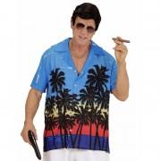 Geen Blauwe maffiabaas verkleed blouse met palmboomprint voor heren