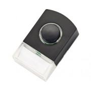 Buton pentru sonerie cu fir Avidsen 8-12V, cu bec de iluminare, culoare neagra si eticheta pentru nume