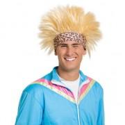 Merkloos Funny pruik blond met zweetband