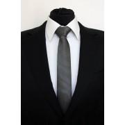 Pánská černá slim kravata se stříbrnými čtverečky - 6 cm