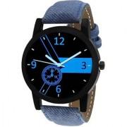 Round Dial Blue Leather Strap Men Quartz Watch for Men