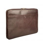 Leder Laptophülle 17'' in Dunkelbraun - Laptophülle, Laptopetui, Laptopschutzhülle, Laptopcover