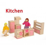 URToys 1Set Wooden Pink Miniature Dollhouse Furniture Kids Toys Set Bedroom/ Kitchen /Dinner /Living Room/ Bathroom/Nursery Pretend Play Toy With 4 Dolls For Girls Children Gift 6 Type For Option